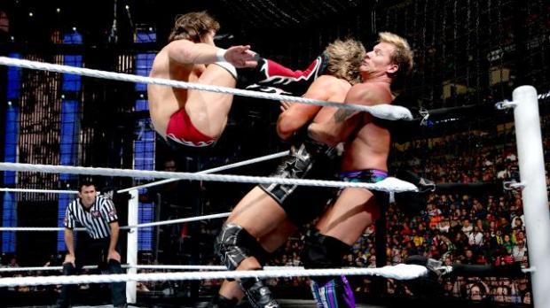 Daniel Bryan delivers his sweet drop kick.